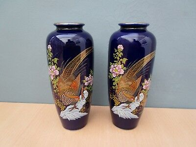A Pair Of Kutani Blue Vases With Bird Design - Made In Japan