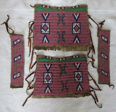 Very Nice Set Of Beaded Sioux Armbands & Cuffs--Nr!