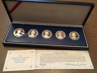 1978 The Coronation Jubilee Crown Coins Sterling Silver Proof Set in Case