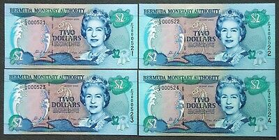 Set of 4~2000 BERMUDA 2 Dollar~Consecutive Serial # Notes Pick #50A~Unc;F081