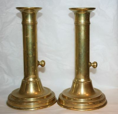 Pair VINTAGE Brass Push Up Scraper Candlestick / Candle Holder QUALITY SOLID