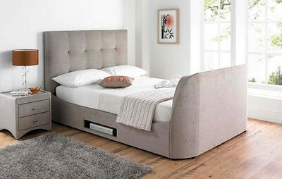 Mink Fabric Walkworth TV Bed 4ft6 Double Holds Upto 40
