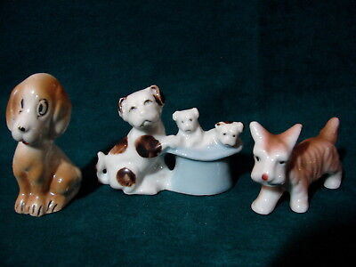 LOT OF 3 Vintage Miniature Japan Fine China Puppies & Dogs Figurines