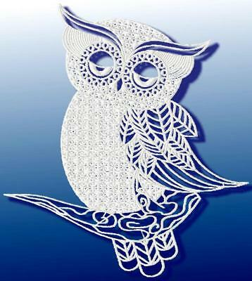 LACEY OWLS 10 MACHINE EMBROIDERY DESIGNS CD 2 SIZES not FSL