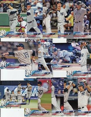 Topps 2018 Series 1 Complete Set of the NEW YORK YANKEES