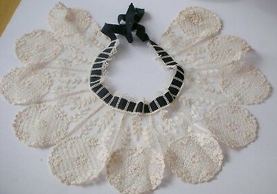 Vintage Scalloped Lace Collar Black Ribbon Tie