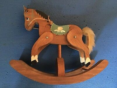 Vintage Hand Painted Wooden Rocking Horse With Rope Reins & Fuzzy Tail