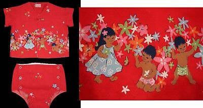Vintage HAWAIIAN SWIMSUIT Sun Babies Shirt Diaper Cover Red 1950's 1960's Hawaii