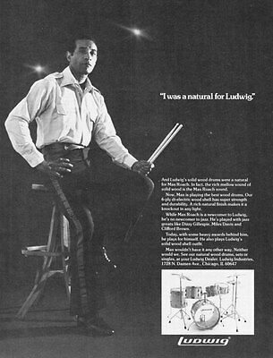 "1977 Drummer Max Roach photo ""Solid Wood Sound"" Ludwig Drums vintage print ad"