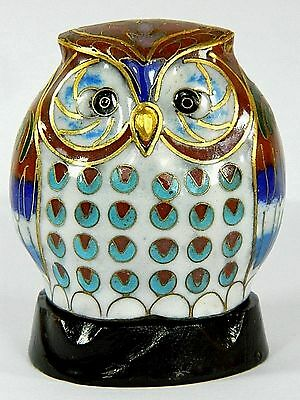 Vintage Chinese Cloisonne Copper Enamel Owl Statue Figurine with Wooden Base