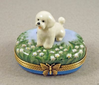 NEW FRENCH LIMOGES BOX CUTE BICHON FRISE DOG PUPPY on LILY OF THE VALLEY FLOWERS