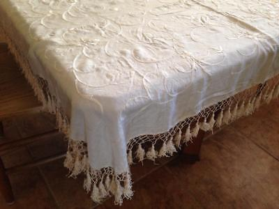 """Antique Ivory Embroidered Silk 34"""" square Tablecloth tassels Victorian"""
