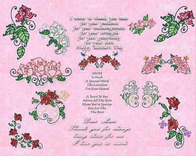 Mothers Day Roses Machine Embroidery Designs Cd  3 Sizes Includes Extras!!