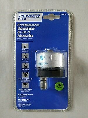 """Power Fit Pressure Washer 5-In-1 Nozzle 3100 Psi, 1/4"""" Quick Connect Pf31078B"""