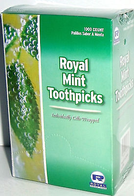 1 Box 1000 Count Individually Cello Wrapped MINT Toothpicks RM115 Royal Paper