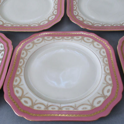 10 Antique BLACK KNIGHT PINK Porcelain Luncheon Plates GILT Encrusted BOWS Swags
