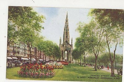 Princes Street Gardens & Scott Monument Edinburgh Brian Gerald Art Postcard 296a