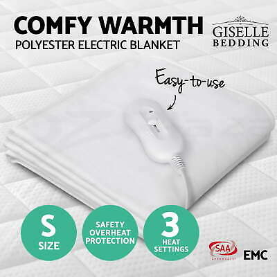 Giselle Bedding Washable Heated Electric Blanket Fully Fitted Polyester Single