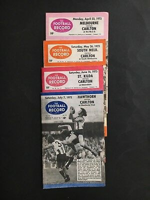 Football Record Lot Of 4 1973 Carlton Away Games