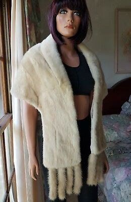 Vintage Ivory Tourmaline Mink Fur Stole Shawl Coat Jacket Wrap detachable tails