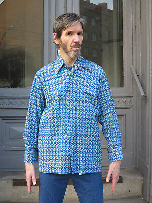 Herren Hemd Orginal 70er blau True VINTAGE 70s men shirt blue FlowerPower Party