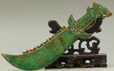 Old Chinese natural jade hand-carved dragon sword statue 6.6 inch