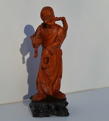 Antique/vintage Chinese Hand Carved Wooden Deity Figural Sculpture/statue