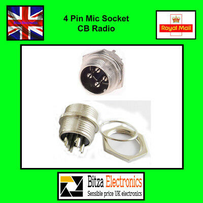 4 Pin CB Radio Mic Panel Mount Socket - UK Seller