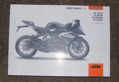 Ktm Rc125 / 200 Eu / Rc200 Asia - My Owners Manual 2015  (All Models Listed)