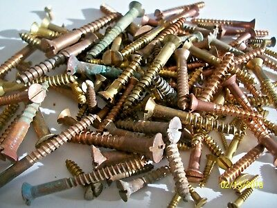 """145 - Vintage Solid Brass Wood Screws With The Flat Reg. Slot Head, 1/2""""- 2"""", #5"""