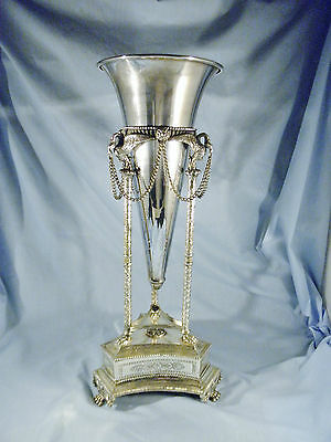 """1870s 12"""" tall ornate silver plated base and 11"""" silver plate flower horn"""