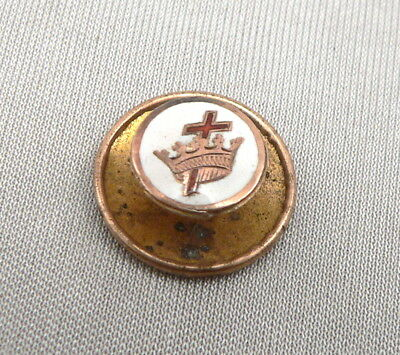 Vintage 10K GOLD Masonic KNIGHTS TEMPLAR Enamel Cross Crown Lapel Pin Small