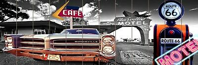 40x120CM LARGE WOODEN WALL ART RETRO PICTURE ROUTE 66 BLUE SWALLOW MOTEL