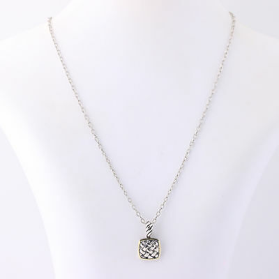 """NEW Squared Woven Pendant Necklace 18"""" - Sterling Silver & 18k Yellow Gold"""