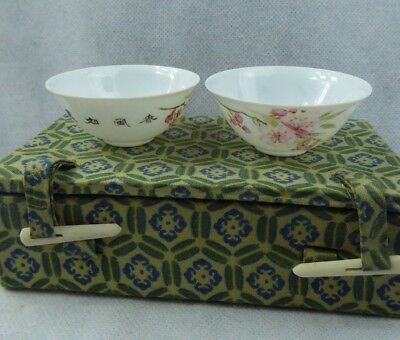 Chinese Fine Eggshell Porcelain Bowls Blossom & Calligraphy Republic period ?