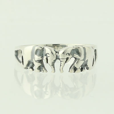 Precious Metal Without Stones Fine Rings 925 Sterling Silver Elephants Band Ring Size 8.00 Animal Fine Jewelry Gifts