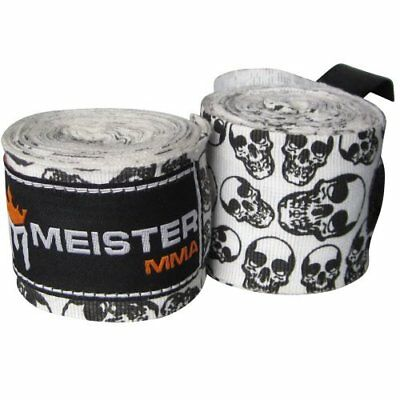 "Meister 180"" Elastic Cotton Hand Wraps for MMA & Boxing (Pair) - Death Skulls"