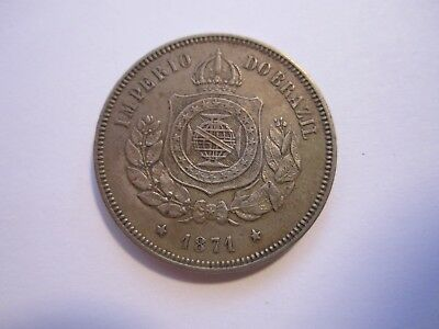 1871 Brazil 100 Reis, About Uncirculated, Original, No Reserve, Free Ship