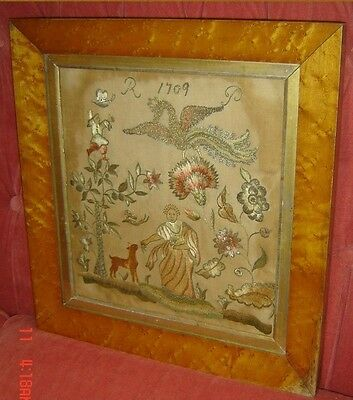 Antique Needlepoint Needlework Sampler Signed and Dated 1709.