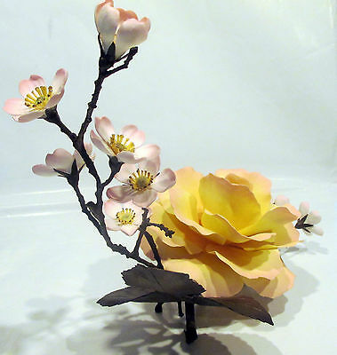 Boehm Porcelain  Flower with Bronze Base and Stems  and Leaves