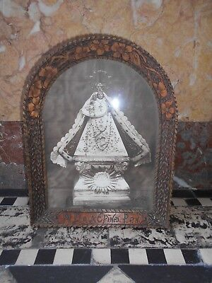 Antique French Photo Print Virgin Mary Madonna  hand carved wood framed standing
