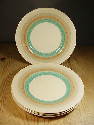 Susie Cooper Wedding Ring Band Green FOUR Salad Plates