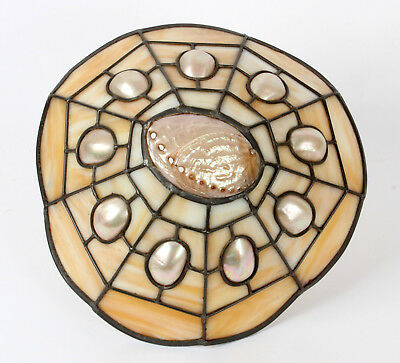 Leaded Glass and Abelone Shell Arts and Crafts Ceiling Light Shade