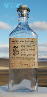 RARE OLD original antiqiue SNAKE OIL bottle w/pic RATTLER from N CAROLINA