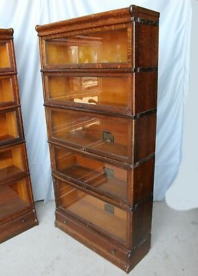 Antique Oak Sectional Bookcase – Globe Wernicke 5 sections with drawer in base