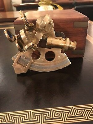 Solid Brass Quarter-size Sextant by Nauticalia with Wood Box