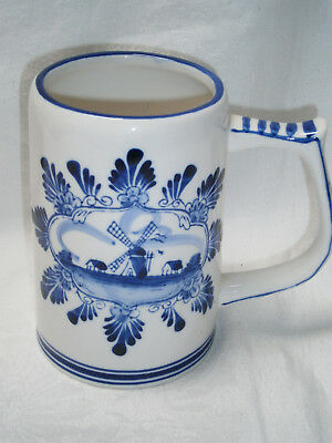 Large Vintage Mug Handpainted Windmill In Delft Blue Colour  Marked E H  10263