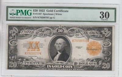 Gold Certificate 1922 $20  PMG Graded vf 30