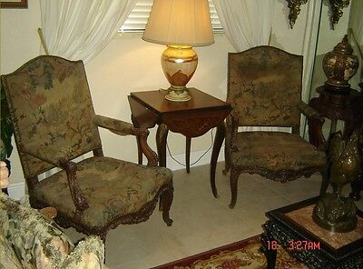 Antique French Aubusson Tapestry Pair Large Armchairs Circa 1800 Authentic Rare