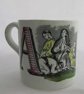 Antique Staffordshire Transferware ABC Child's Mug Letters A Angels& B Broken